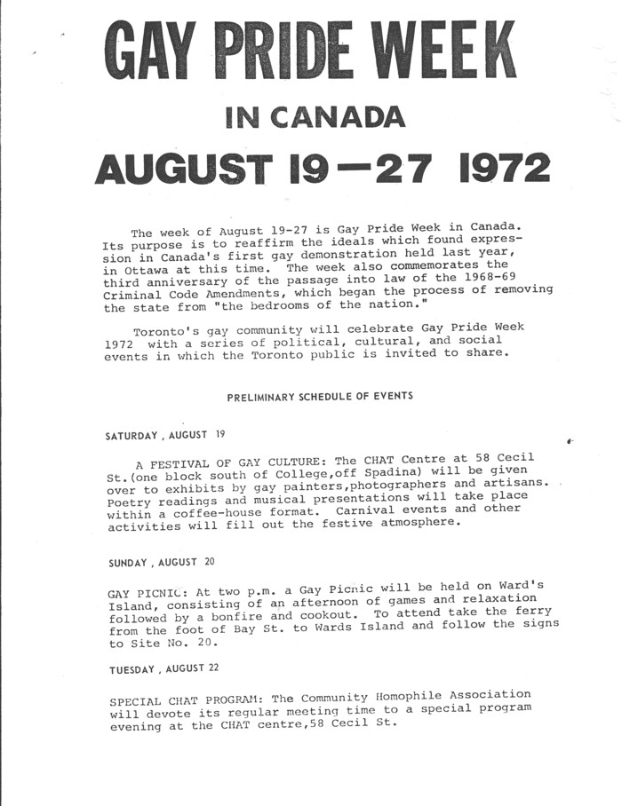 1972 gay pride week schedule first page