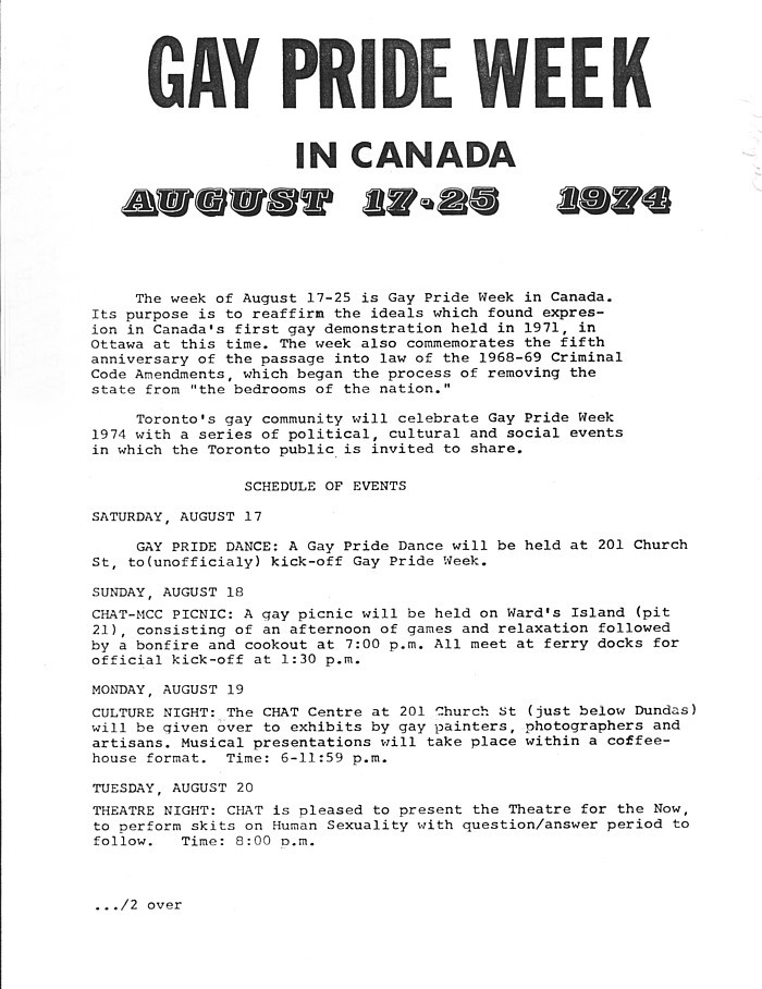 1974 gay pride week schedule first page