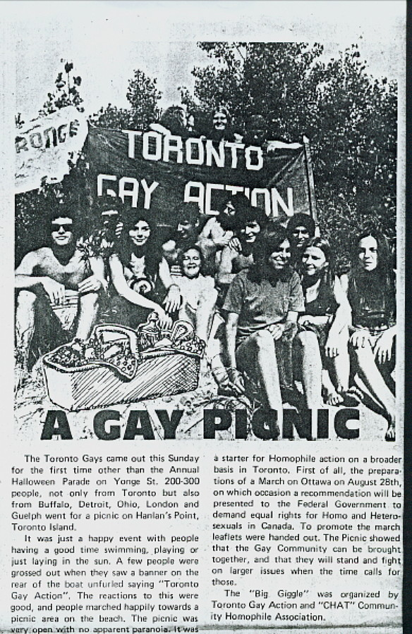Guerilla clipping and photo of 1971 gay picnic