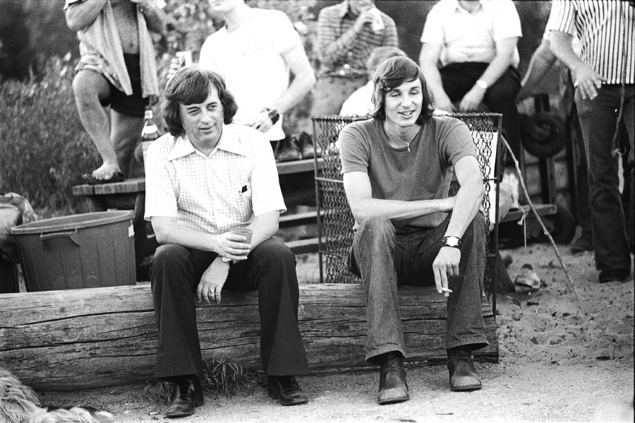 1972 photo of George Hislop and David Newcome at the Gay Pride picnic, Toronto Islands