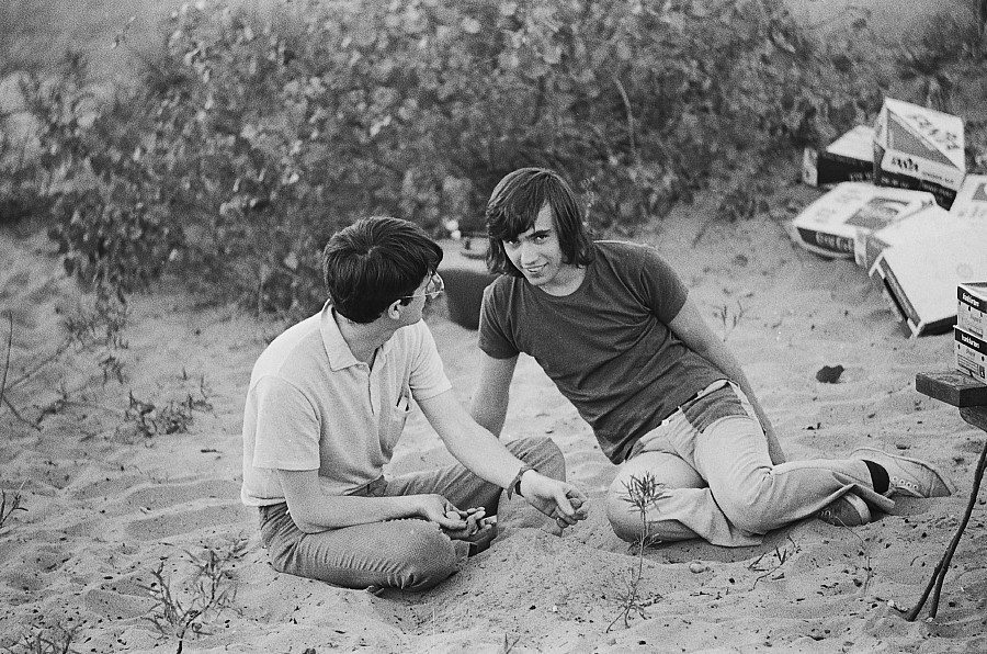 At the 1972 gay picnic Art Whittaker on the left, with Paul Pearce, David Newcome's lover