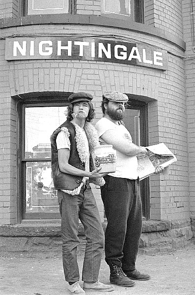 ken hutchinson and mike constable of guerilla in front of nightingale cafe