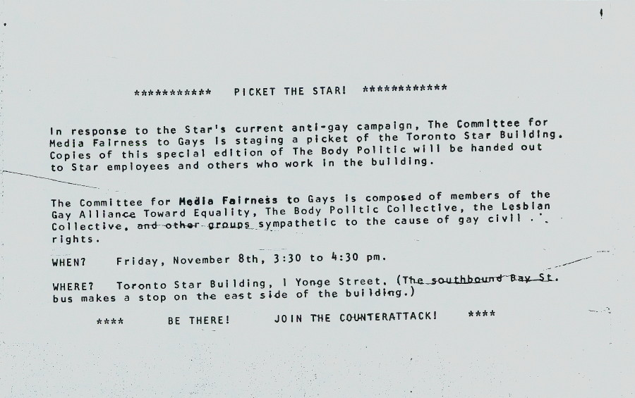 Flyer for Toronto Star picket, Friday November 8, 1974
